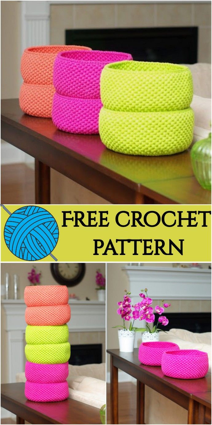 Free Crochet Baskets In Delicious Colors