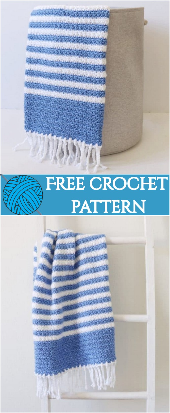 Free Crochet Blue Stripes Baby Blanket
