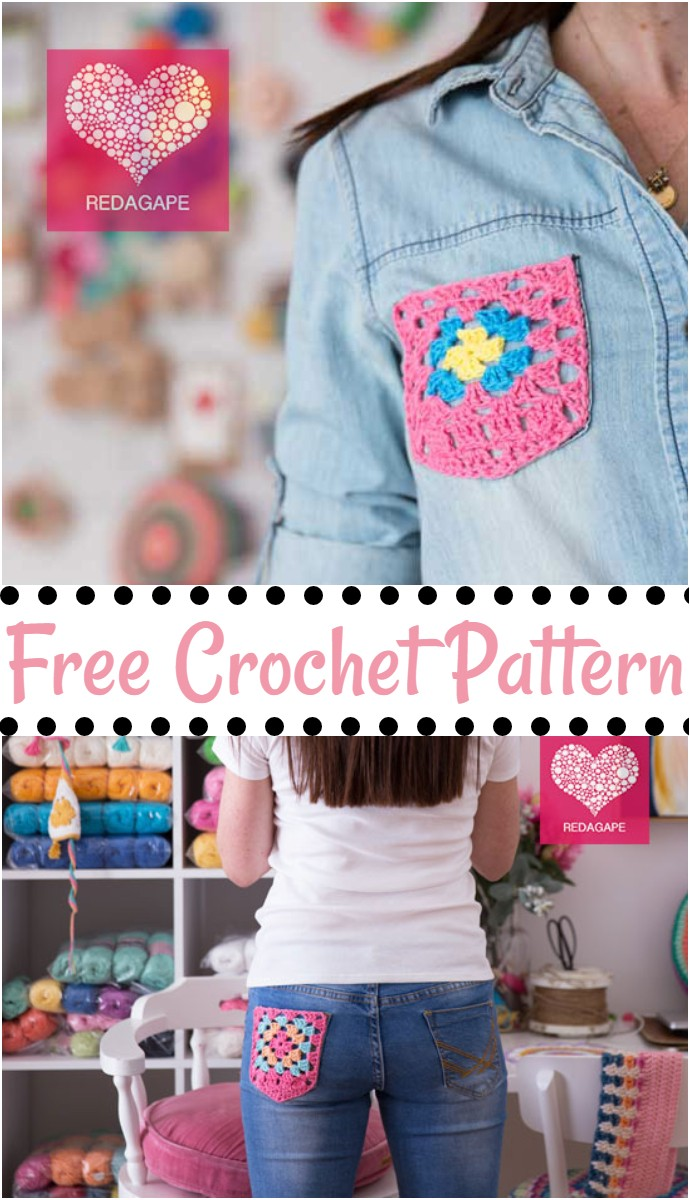 Free Crochet Granny Pocket
