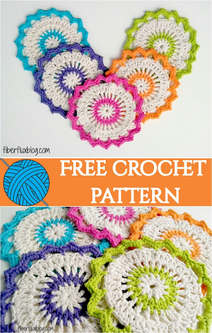 Free Crochet Pattern Lotus Bloom Dishcloths