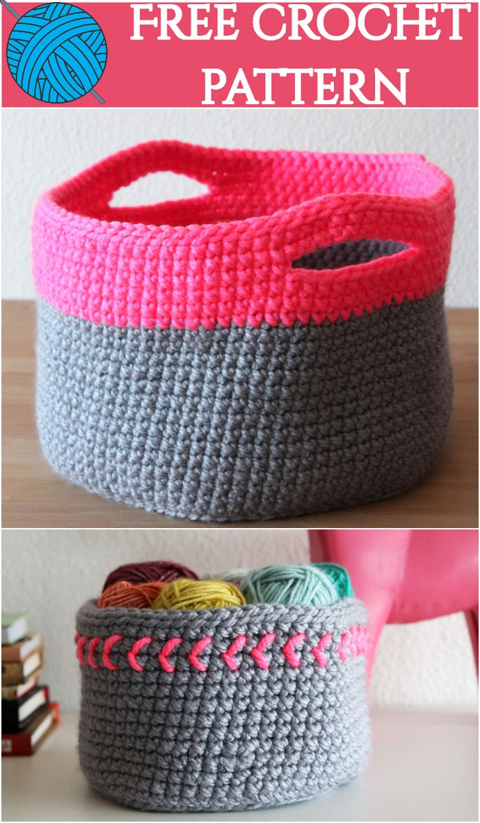 Free Crochet Pattern Neon Touch Basket