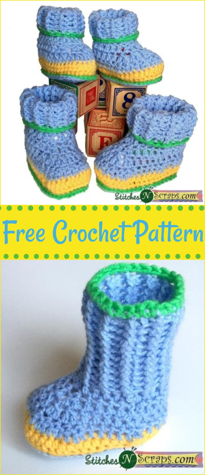 Free Crochet Pattern Striped Booties