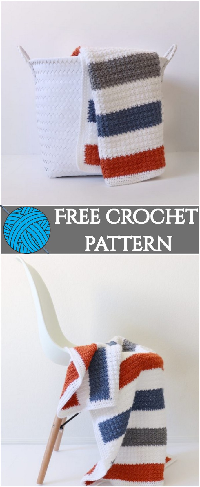 Free Crochet Striped Crumpled Griddle Blanket