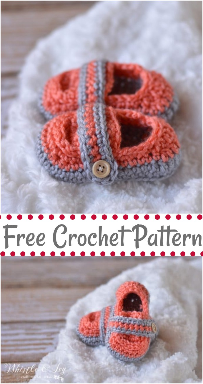 Monk Strap Baby Booties Crochet Pattern