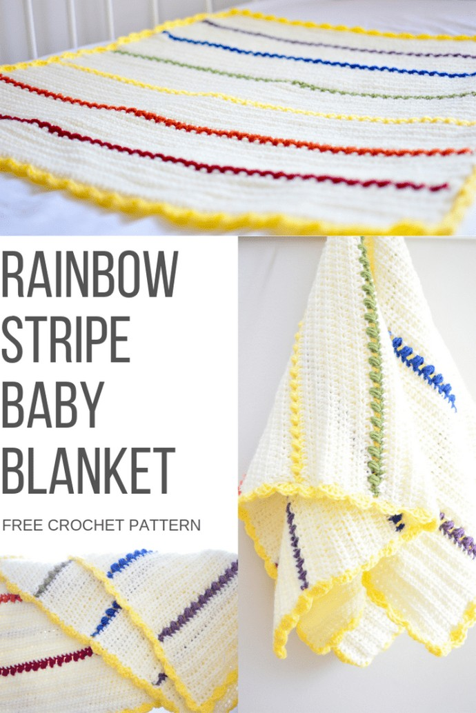 Rainbow Stripe Baby Blanket Free Crochet Pattern