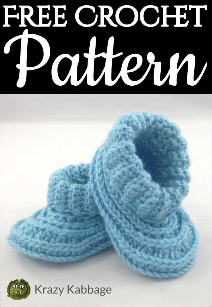 Ribbed Baby Booties Free Crochet Pattern