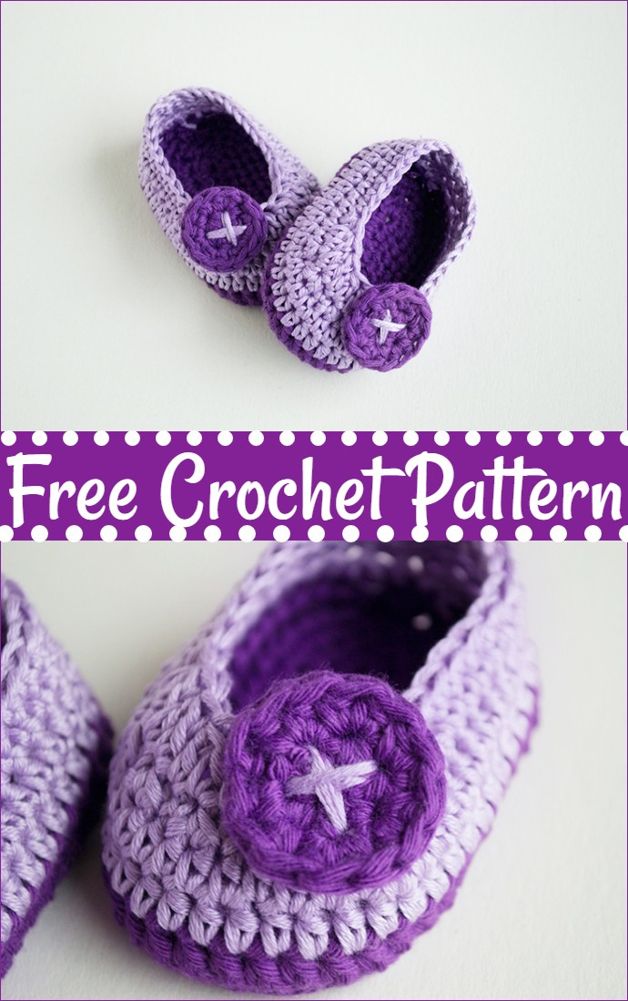 Violet Butterfly Free Crochet Baby Booties