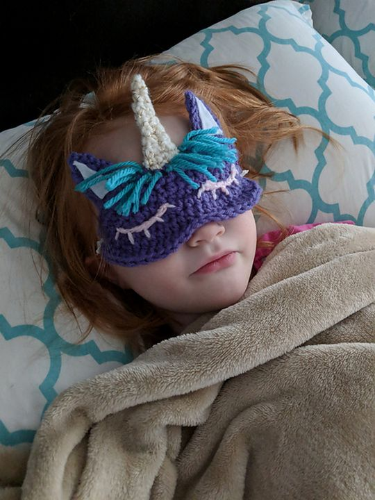 Crochet Child's Unicorn Sleep Mask