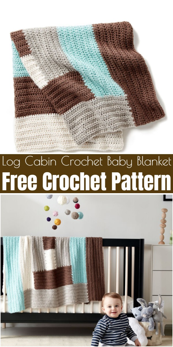 Log Cabin Crochet Baby Blanket