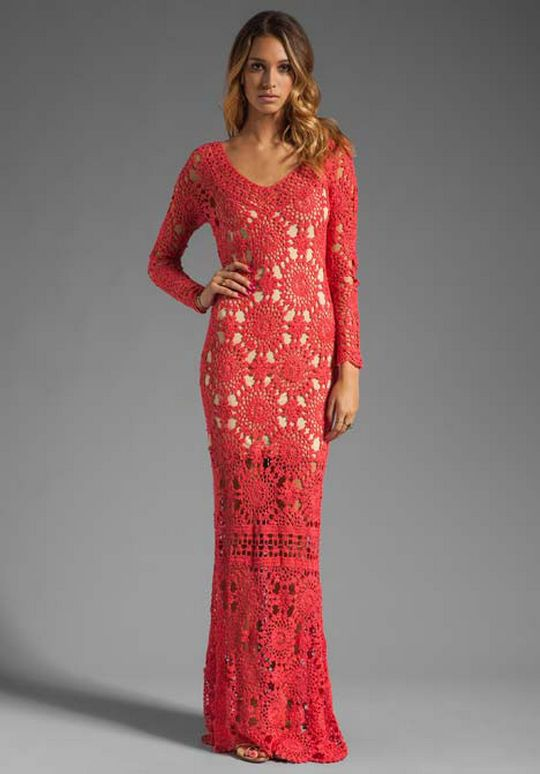 Long Red Crochet Dress With Motifs