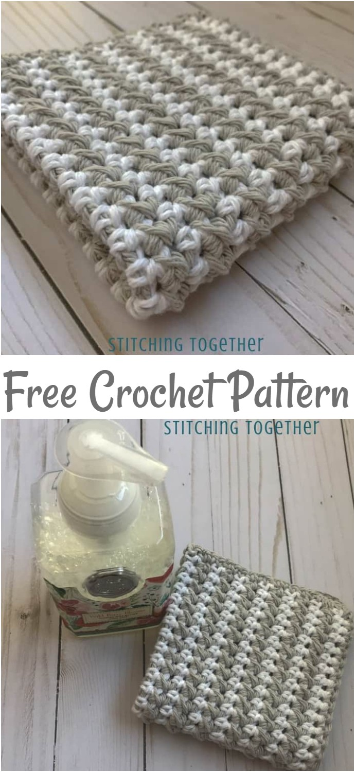 Striped Half Double Crochet Dishcloth Pattern