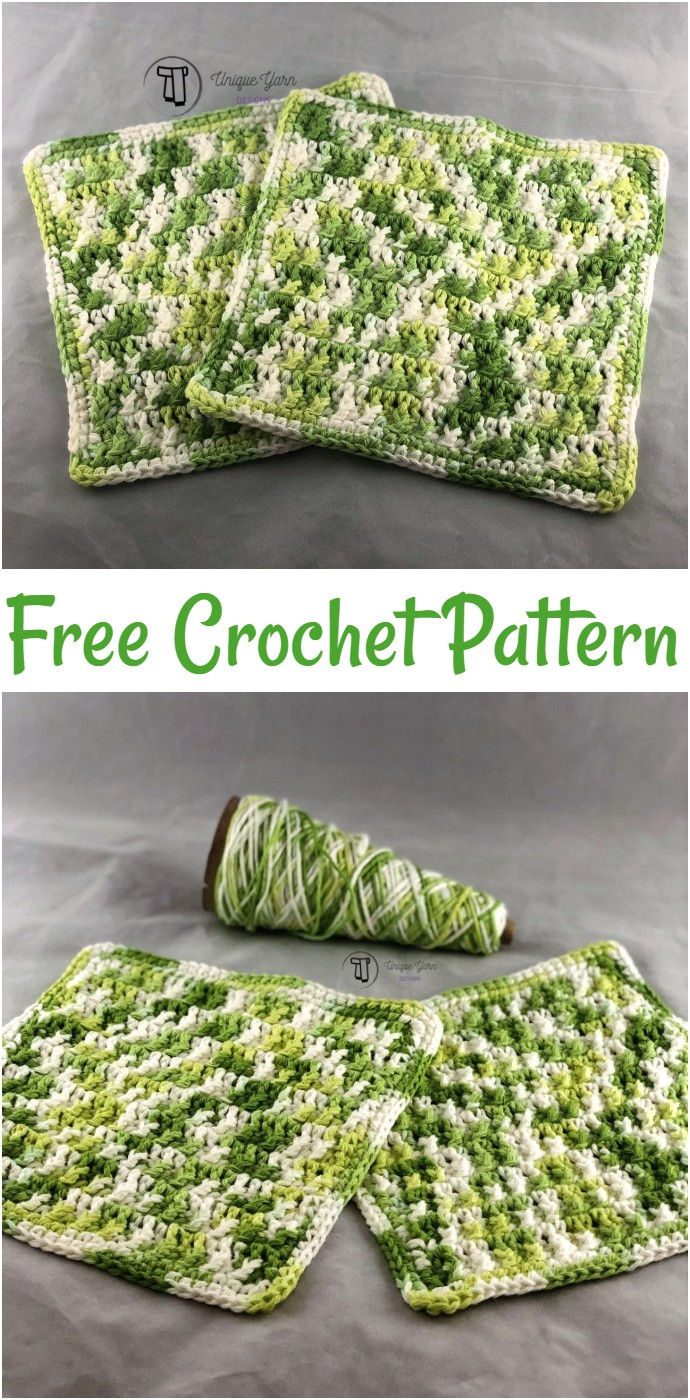 Textured Front Post Dishcloth Crochet Pattern