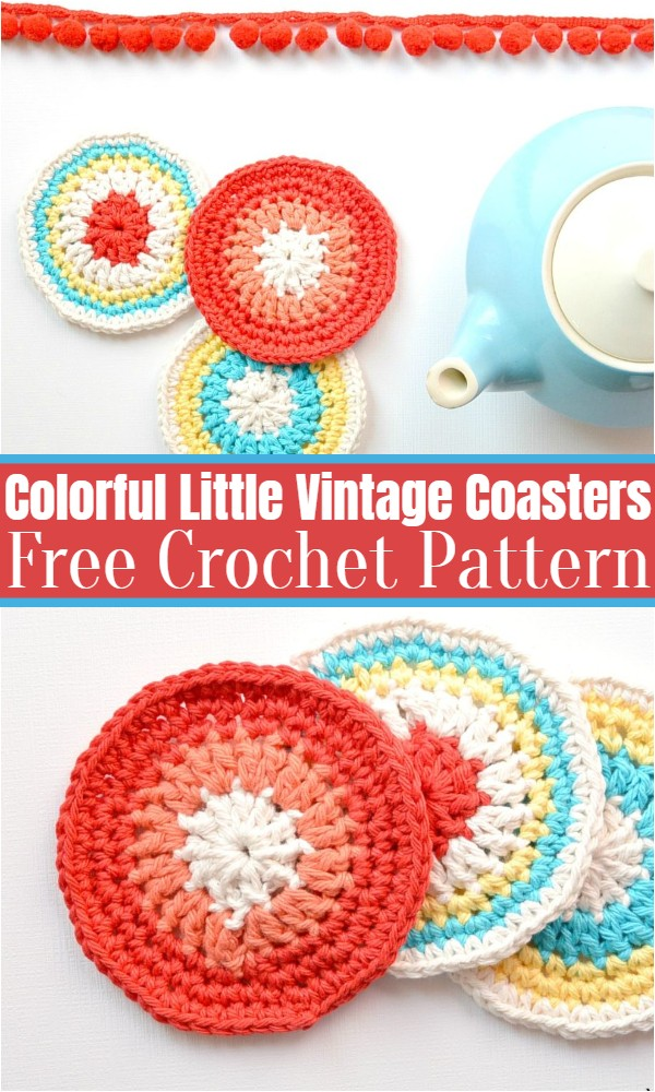 Colorful Little Vintage Coasters Free Crochet Pattern
