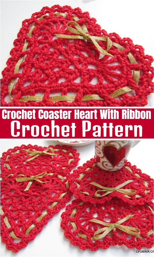 Crochet Coaster Pattern Heart With Ribbon
