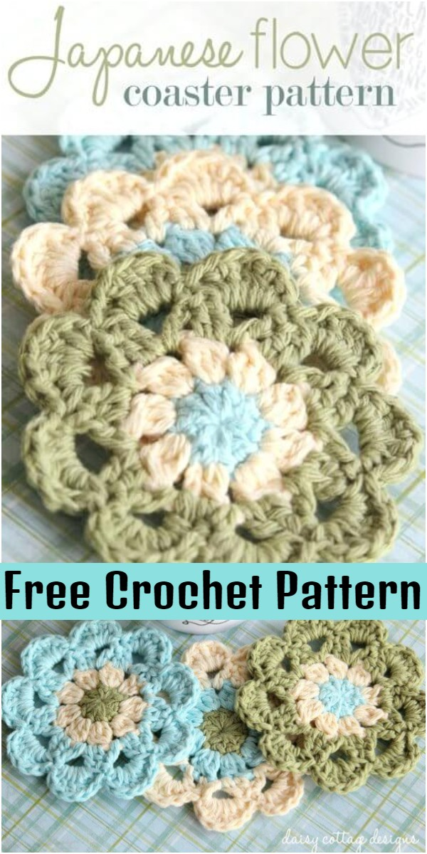 Crochet Coasters Set Japanese Flower Motif