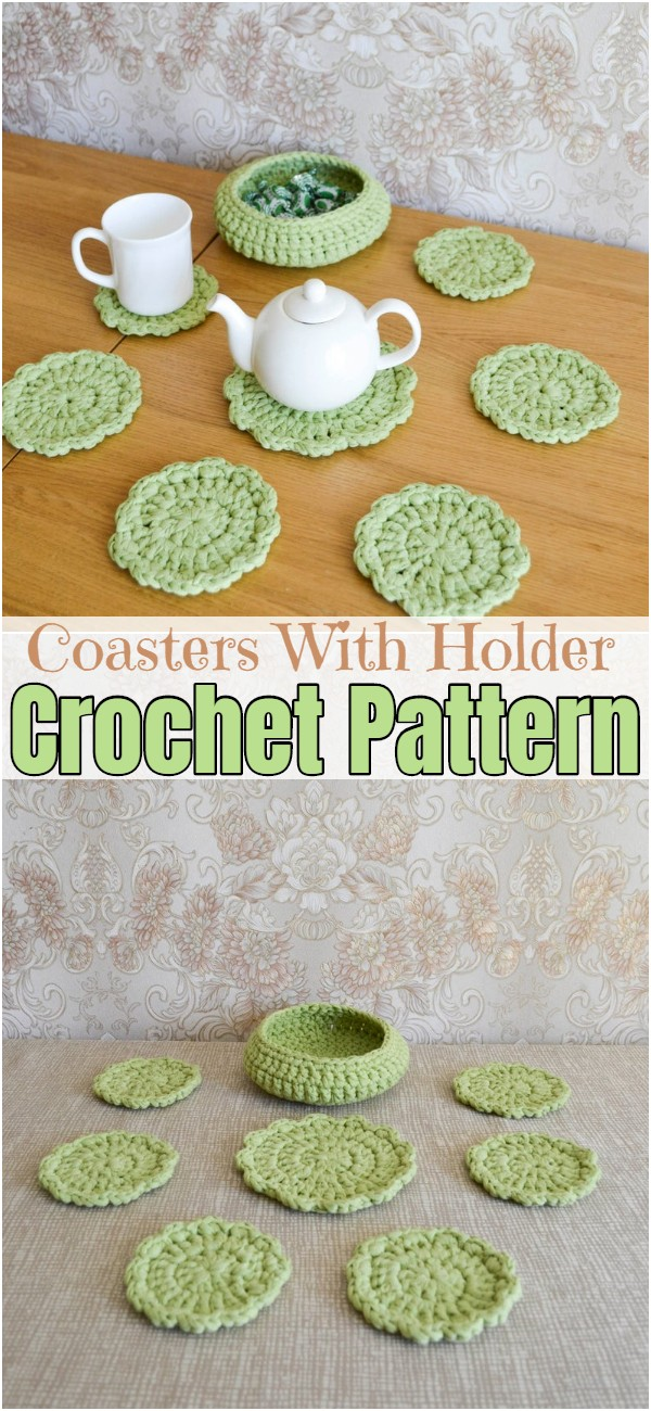 Crochet Coasters With Holder