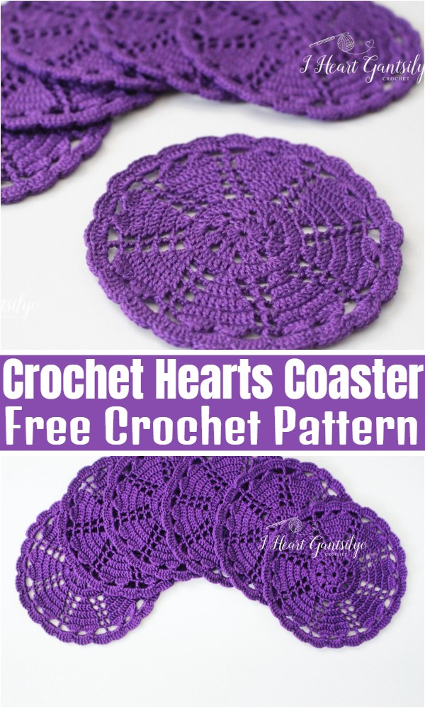 Crochet Hearts Coaster
