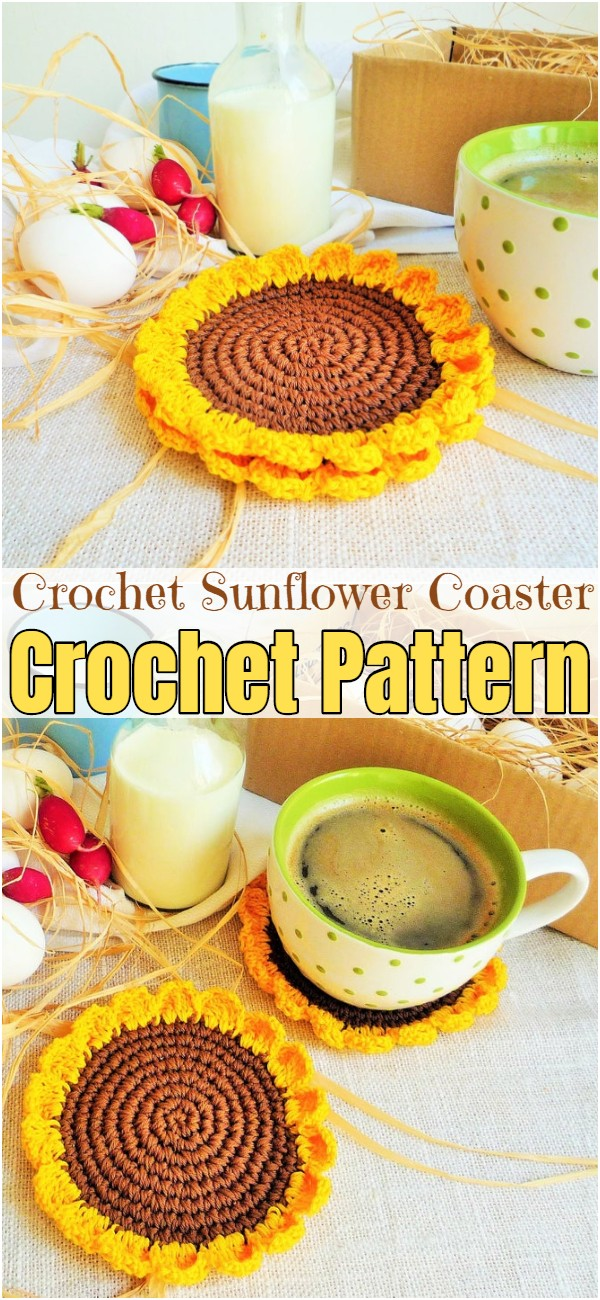 Crochet Sunflower Coaster