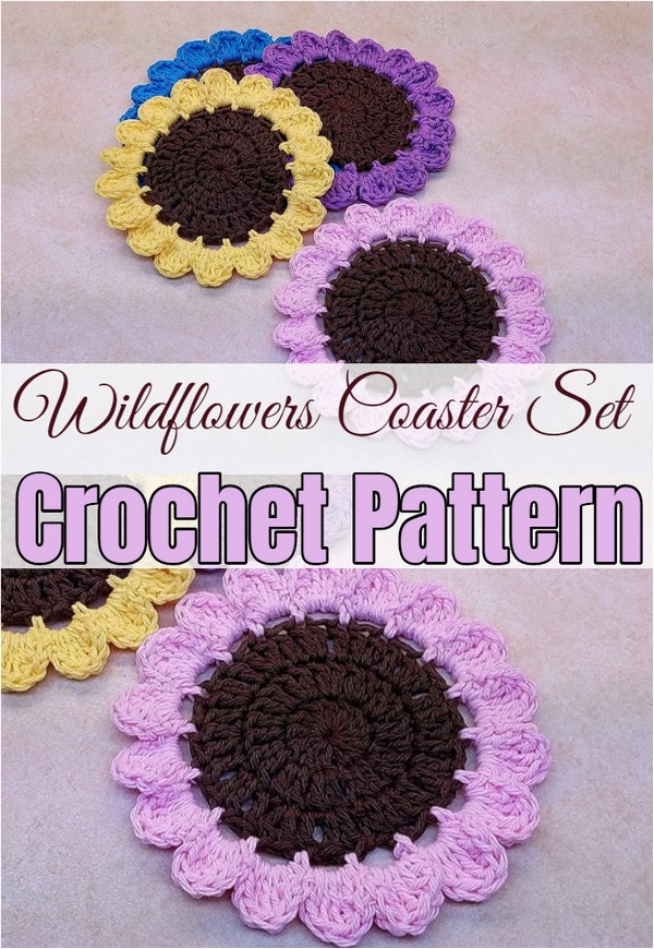 Crochet Wildflowers Coaster Set Pattern