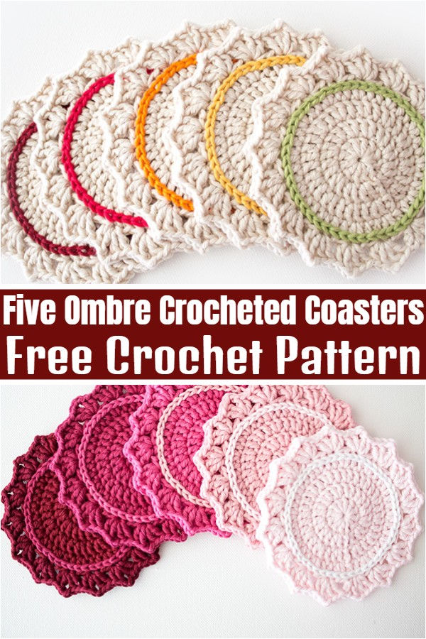 Five Ombre Crocheted Coasters