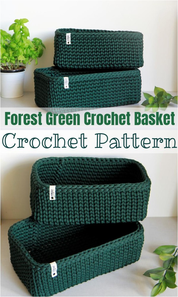 Forest Green Crochet Basket