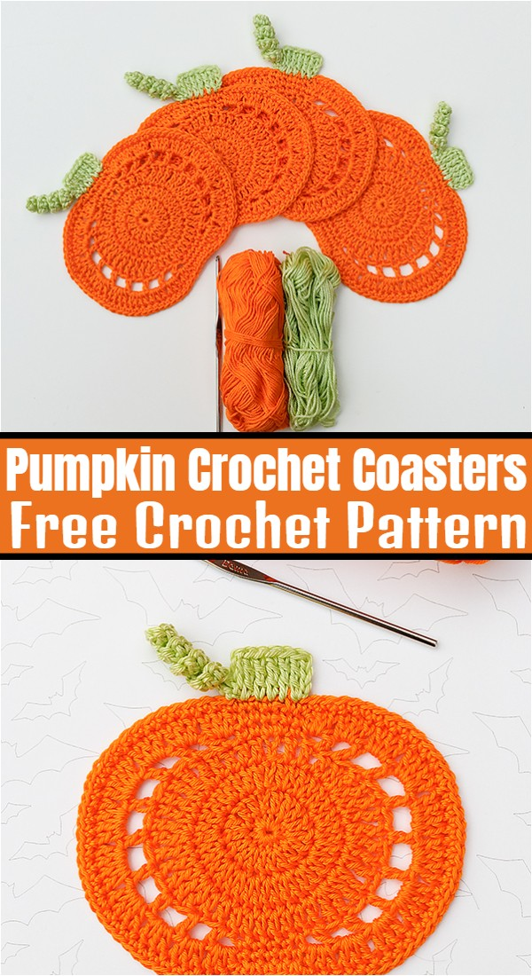 Pumpkin Crochet Coasters