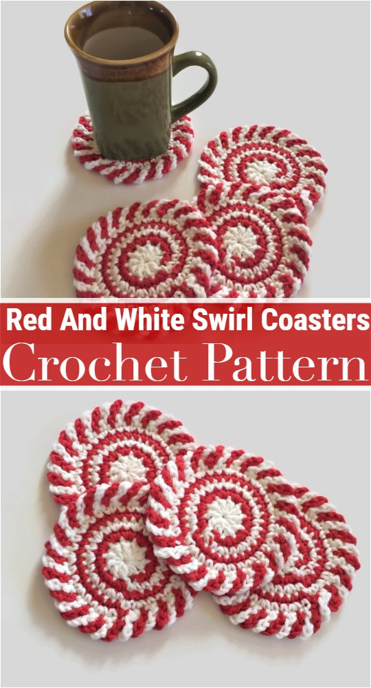 Red And White Swirl Crochet Coasters