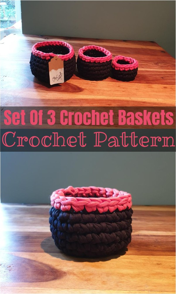 Set Of 3 Crochet Baskets