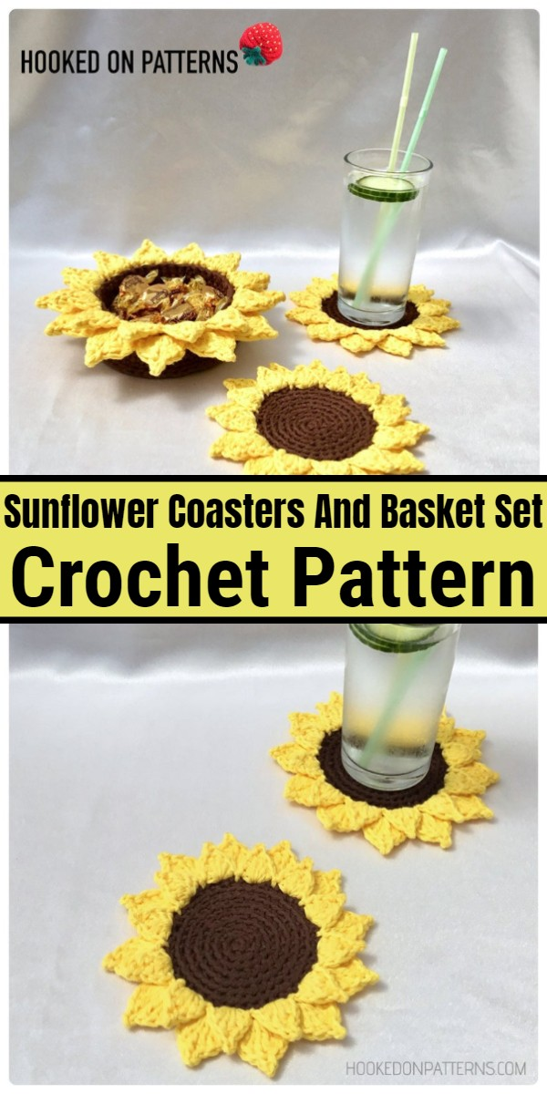 Sunflower Coasters And Basket Set