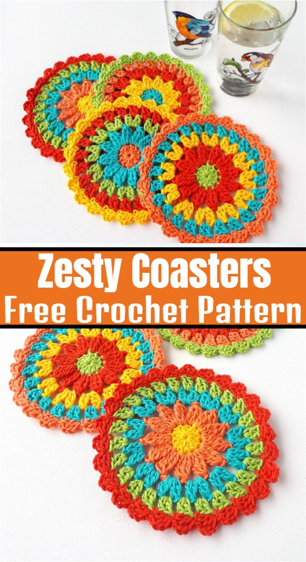Zesty Coasters Easy Free Crochet Pattern