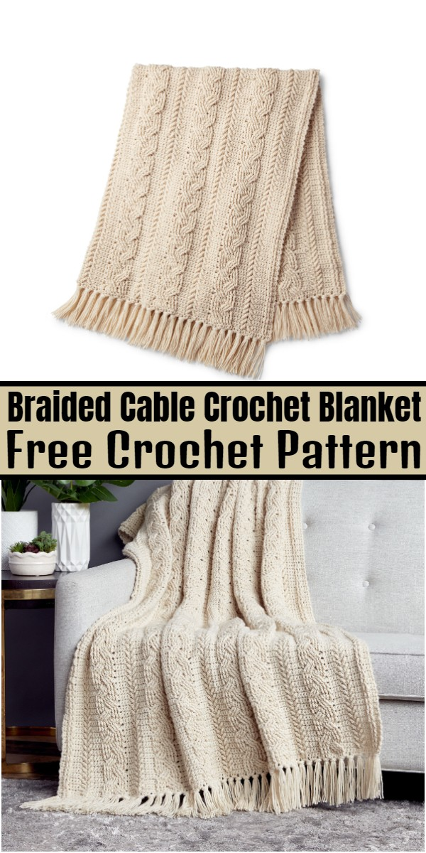 Braided Cable Crochet Blanket