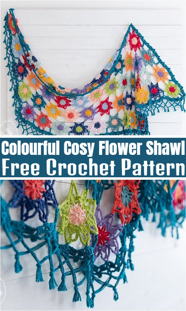 Colourful Cosy Flower Shawl
