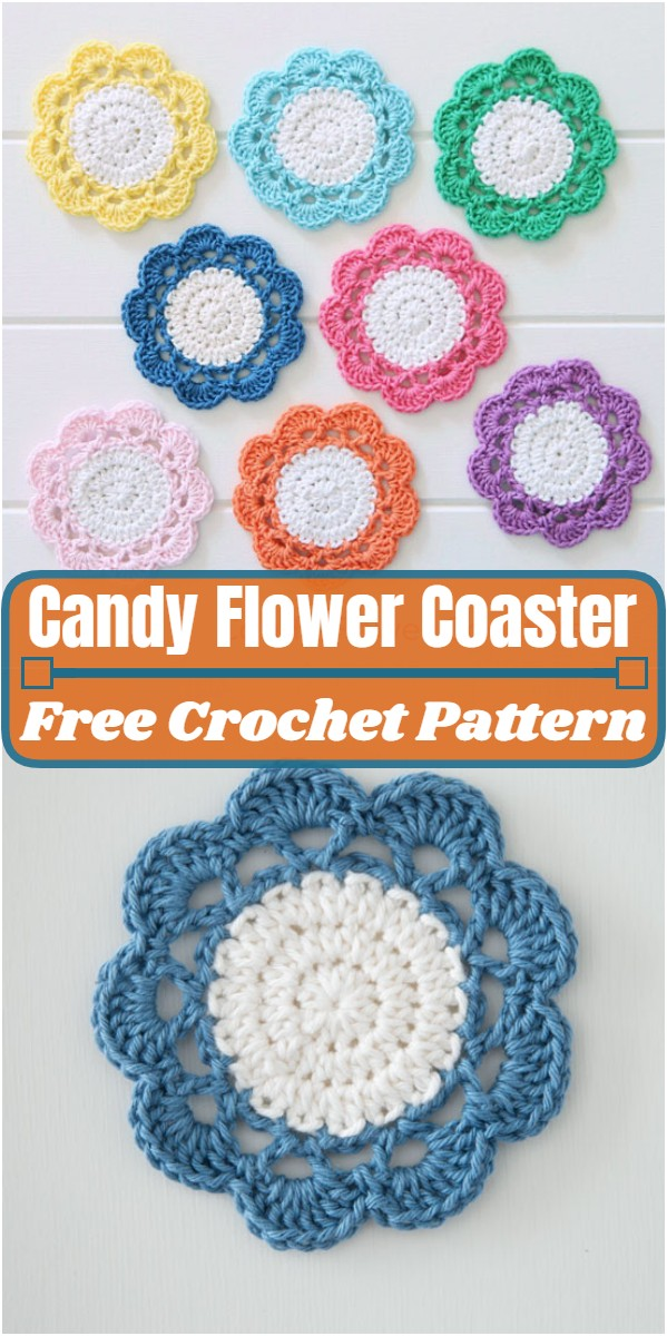 Crochet Candy Flower Coaster Pattern