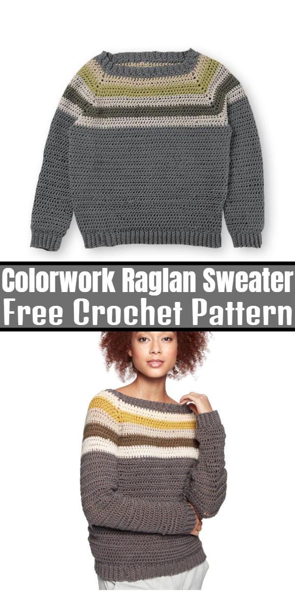 Crochet Colorwork Raglan Sweater