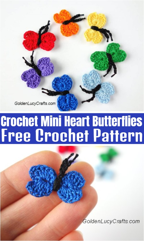 Crochet Mini Heart Butterflies