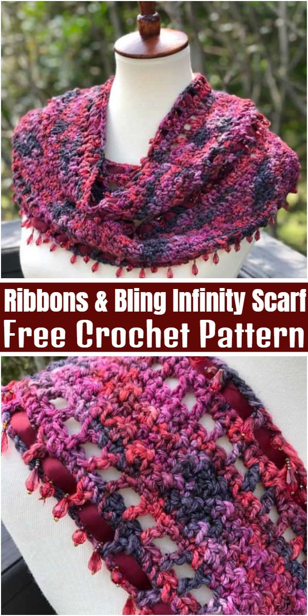Crochet Ribbons & Bling Infinity Scarf