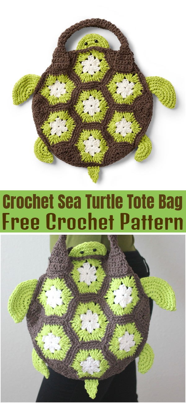 Crochet Sea Turtle Tote Bag