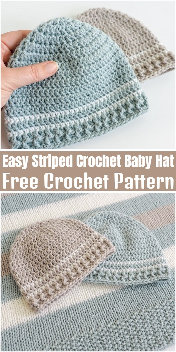Easy Striped Crochet Baby Hat
