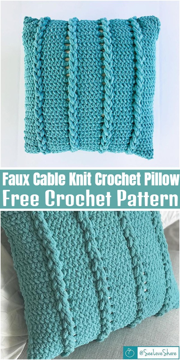Faux Cable Knit Crochet Pillow