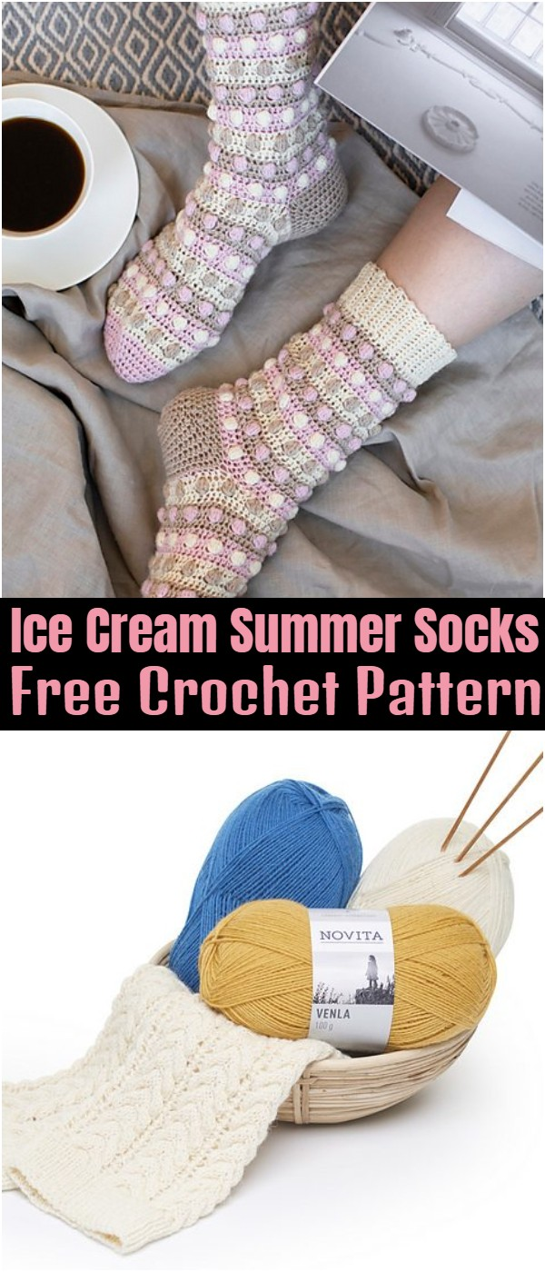 Ice Cream Summer Socks Free Crochet Pattern