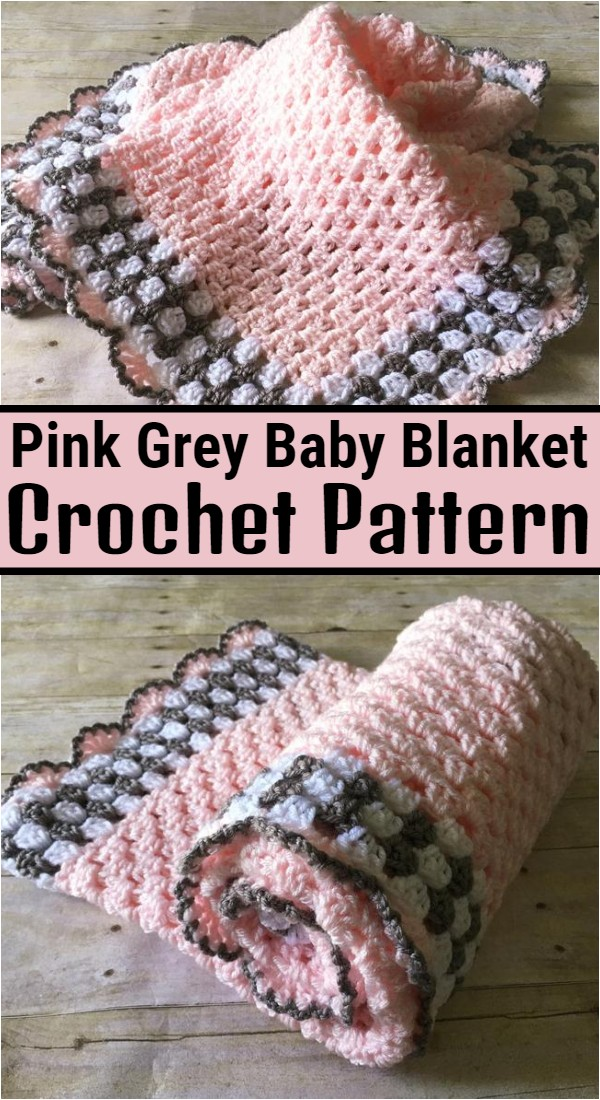Pink Grey Baby Blanket