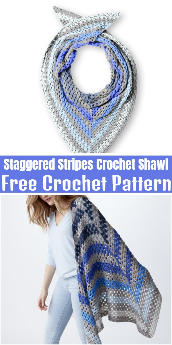 Staggered Stripes Crochet Shawl
