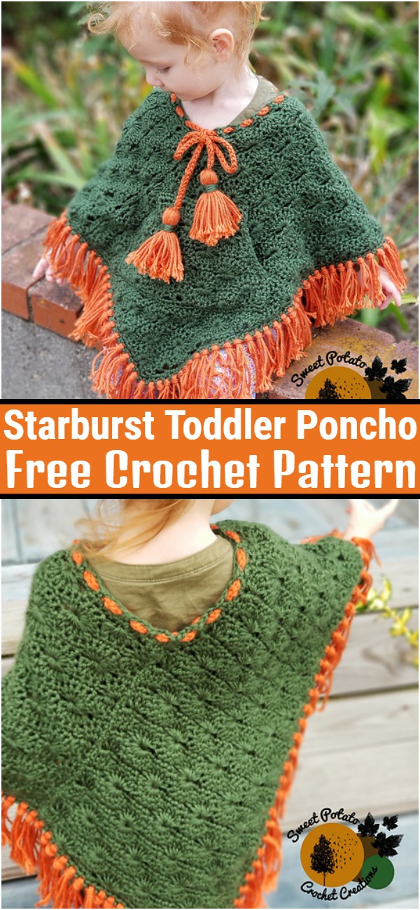 Starburst Toddler Poncho Free Crochet Pattern
