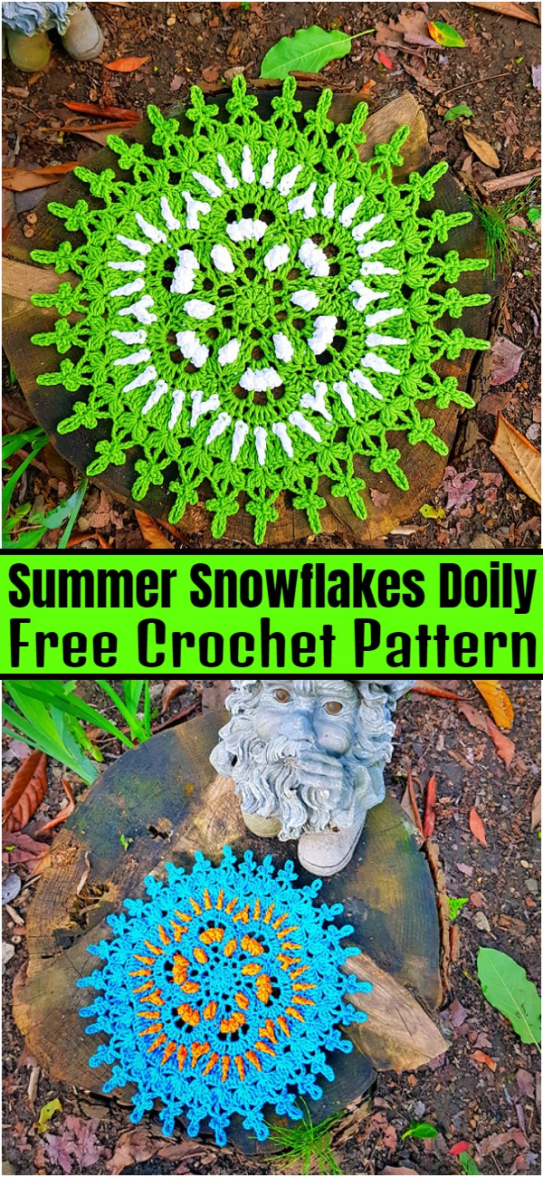 Summer Snowflakes Doily Free Crochet Pattern
