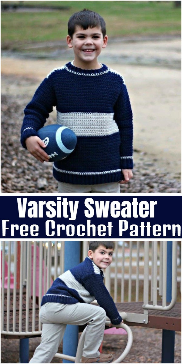 Varsity Sweater Free Crochet Pattern