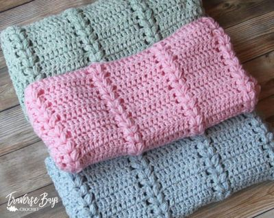 Free Crochet Braided Puff Baby Blanket Pattern