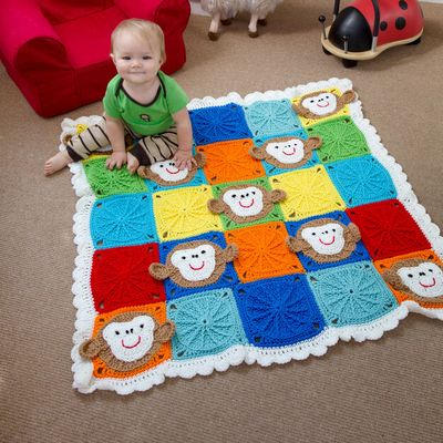Free Crochet Monkey Around Baby Blanket Pattern