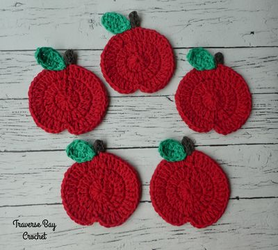 Free Crochet Apple Coasters Pattern