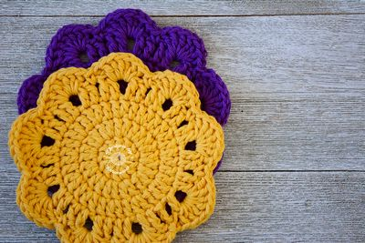 Free Crochet Colorful Coasters Pattern