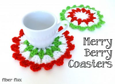 Free Crochet Merry Berry Coasters Pattern